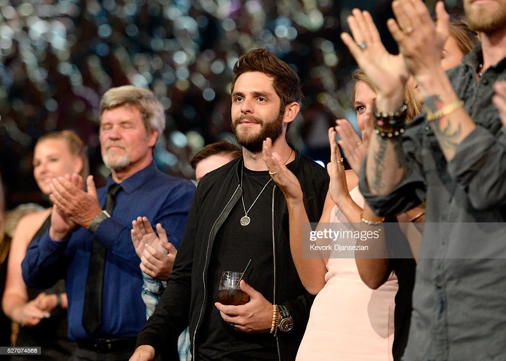 Singer <a gi-track='captionPersonalityLinkClicked' href=/galleries/search?phrase=Thomas+Rhett&family=editorial&specificpeople=9092574 ng-click='$event.stopPropagation()'>Thomas Rhett</a> attends the 2016 American Country Countdown Awards at The Forum on May 1, 2016 in Inglewood, California.