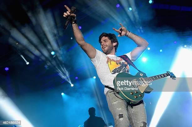 Singer Thomas Rhett performs onstage at the HGTV Lodge during Day 1 of the DirecTV Super Fan Festival at Pendergast Family Farm on January 28 2015 in...