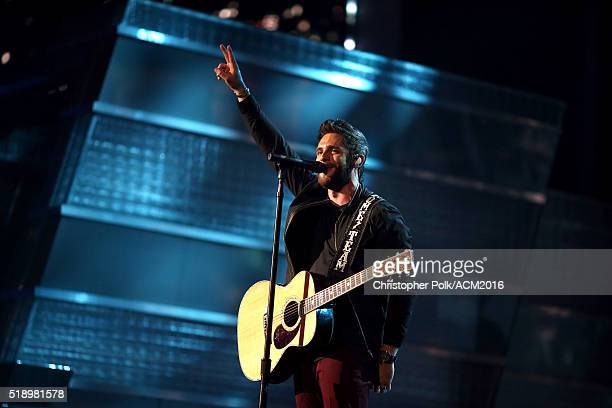 Singer Thomas Rhett performs onstage during the 51st Academy of Country Music Awards at MGM Grand Garden Arena on April 3 2016 in Las Vegas Nevada