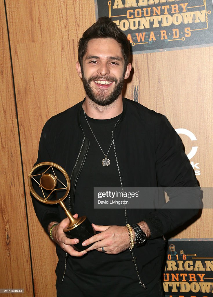Singer Thomas Rhett winner of the award for 'Song of the Year,' poses in the press room at the 2016 American Country Countdown Awards at The Forum on May 01, 2016 in Inglewood, California.