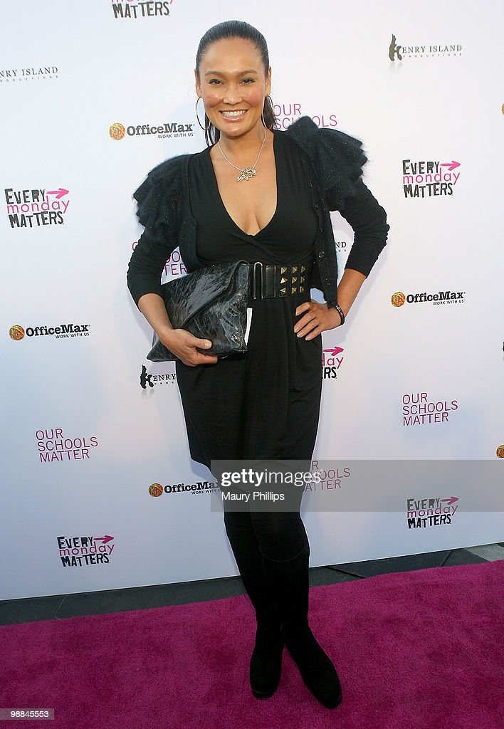 Singer Tia Carrere arrives at the First Annual Party With A Purpose Benefit at Smashbox West Hollywood on May 3, 2010 in West Hollywood, California.