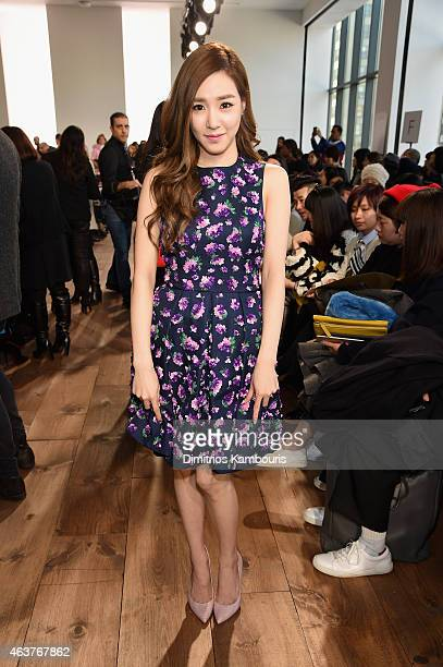 Singer Tiffany Hwang attends the Michael Kors fashion show during MercedesBenz Fashion Week Fall 2015 at Spring Studios on February 18 2015 in New...