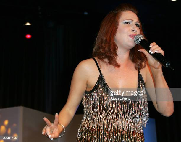 Singer Tiffany performs at the Billboard Magazine and Children Uniting Nations After Party held at the Beverly Hilton Hotel on February 24 2008 in...