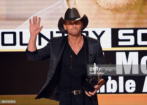 Singer Tim McGraw accepts Favorite Country Song for 'Humble and Kind' onstage during the 2016 American Music Awards at Microsoft Theater on November...