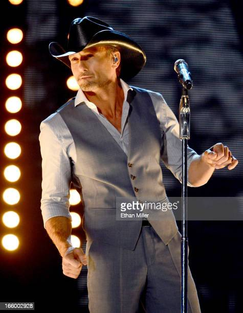 Singer Tim McGraw performs onstage during the 48th Annual Academy of Country Music Awards at the MGM Grand Garden Arena on April 7 2013 in Las Vegas...