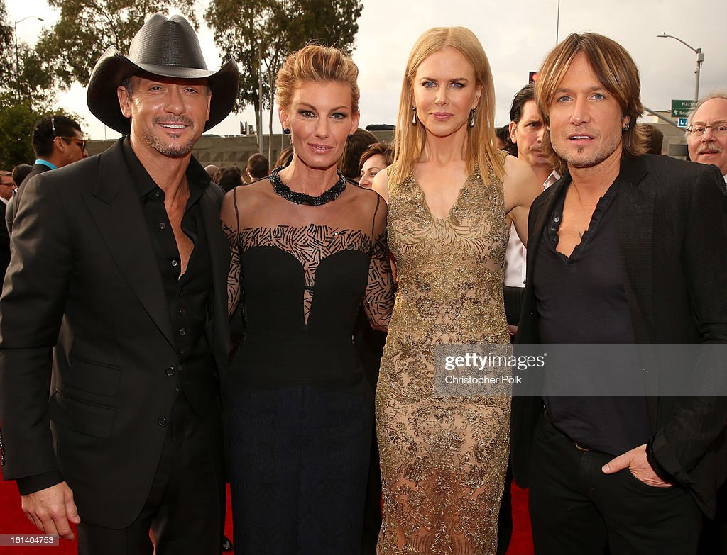 Singer Tim McGraw, singer Faith Hill, actress Nicole Kidman and singer Keith Urban attend the 55th Annual GRAMMY Awards at STAPLES Center on February 10, 2013 in Los Angeles, California.