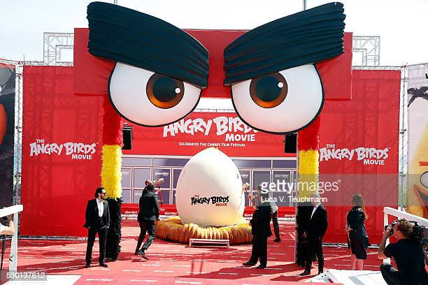 Singer Timur Rodriguez actor Omar Sy actor Josh Gad actor Maccio Capatonda and TV presenter Raya Abirached attend 'The Angry Birds Movie' Photocall...
