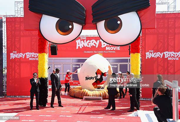 Singer Timur Rodriguez actor Omar Sy actors Josh Gad actor Maccio Capatonda and TV presenter Raya Abirached attend 'The Angry Birds Movie' Photocall...