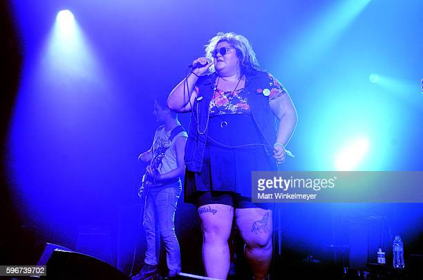 Singer Tina Halladay of Sheer Mags perform onstage during FYF Fest 2016 at Los Angeles Sports Arena on August 27 2016 in Los Angeles California