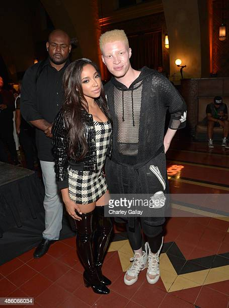 Singer Tinashe and model Shaun Ross attend the Jeremy Scott and adidas Originals VMA's After Party with Spirits Sponsored By Svedka Vodka at Union...