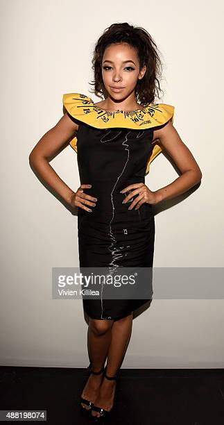 Singer Tinashe attends Jeremy Scott Spring 2016 during New York Fashion Week The Shows at The Arc Skylight at Moynihan Station on September 14 2015...