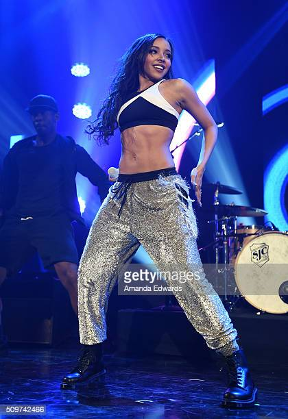 Singer Tinashe performs onstage at the 1027 KIISFM Tinder Ball at the iHeartRadio Theater on February 11 2016 in Burbank California