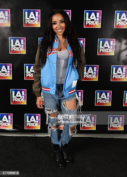 Singer Tinashe poses backstage at LA Pride 2015 by Christopher Street West on June 13 2015 in West Hollywood California