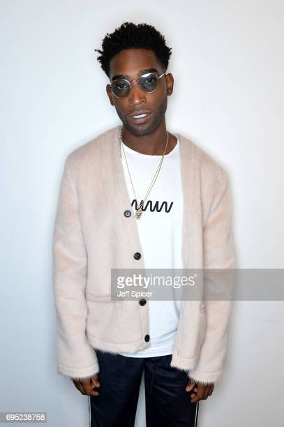 Singer Tinie Tempah poses backstage ahead of the A Cold Wall* show during the London Fashion Week Men's June 2017 collections on June 12 2017 in...