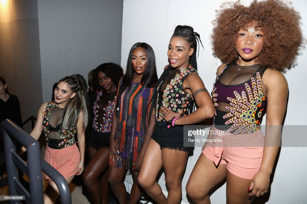 Singer Tiwa Savage (C) and dancers attend 2017 Essence Black Women in Music at NeueHouse Hollywood on February 9, 2017 in Los Angeles, California.
