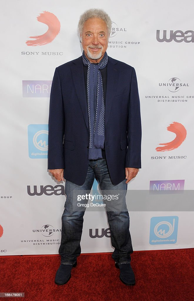 Singer Tom Jones arrives at the NARM Music Biz Awards dinner party at the Hyatt Regency Century Plaza on May 9, 2013 in Century City, California.