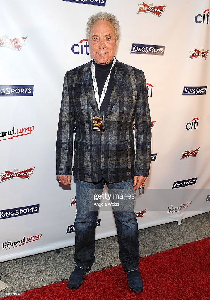 Singer Tom Jones attends Boxing at Barker presented by Budweiser at Barkar Hangar on April 16, 2014 in Santa Monica, California.