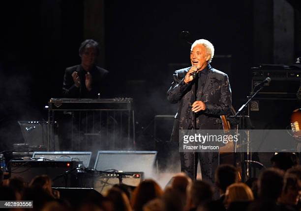 Singer Tom Jones onstage at the 25th anniversary MusiCares 2015 Person Of The Year Gala honoring Bob Dylan at the Los Angeles Convention Center on...