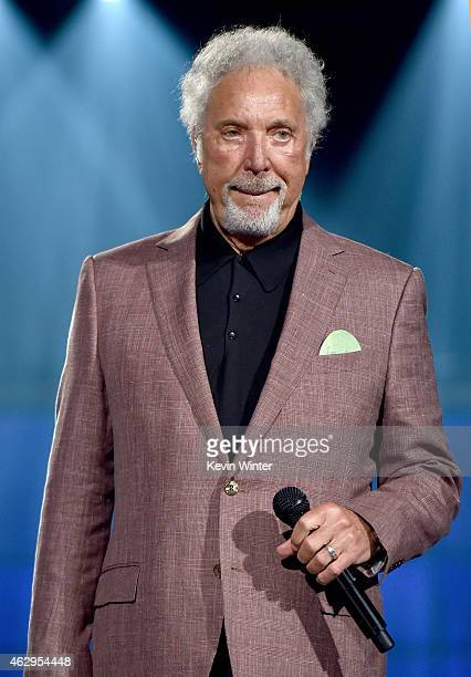 Singer Tom Jones rehearses onstage during The 57th Annual GRAMMY Awards at the Staples Center on February 7 2015 in Los Angeles California