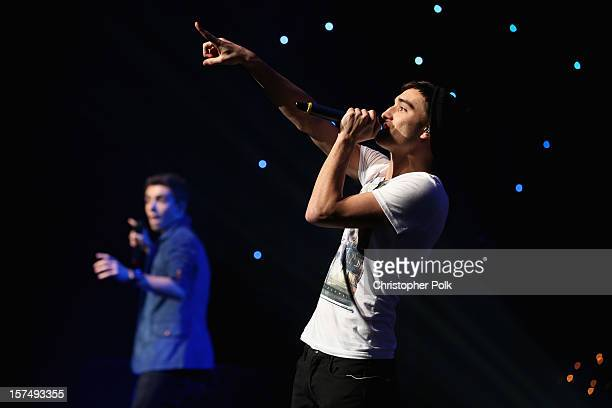 Singer Tom Parker of The Wanted performs onstage during KIIS FM's 2012 Jingle Ball at Nokia Theatre LA Live on December 3 2012 in Los Angeles...