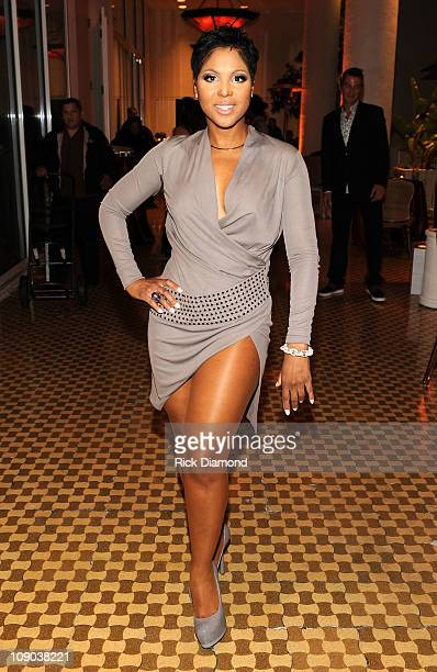 Singer Toni Braxton arrives at the 2011 PreGRAMMY Gala and Salute To Industry Icons Honoring David Geffen at The Beverly Hilton Hotel on February 12...