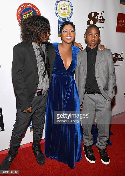 Singer Toni Braxton poses with sons Diezel Ky BraxtonLewis and Denim Cole BraxtonLewis at the 24th Annual NAACP Theatre Awards at Saban Theatre on...