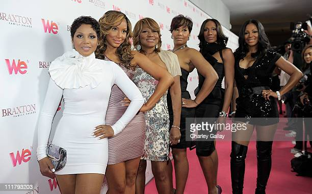 Singer Toni Braxton Tamar Braxton Evelyn Braxton Traci Braxton Towanda Braxton and Trina Braxton arrive at the celebration for the new WE tv series...
