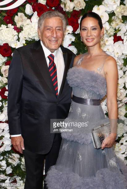 Singer Tony Bennett and actress Lucy Liu attend The American Theatre Wing's Centennial Gala at Cipriani 42nd Street on September 18 2017 in New York...