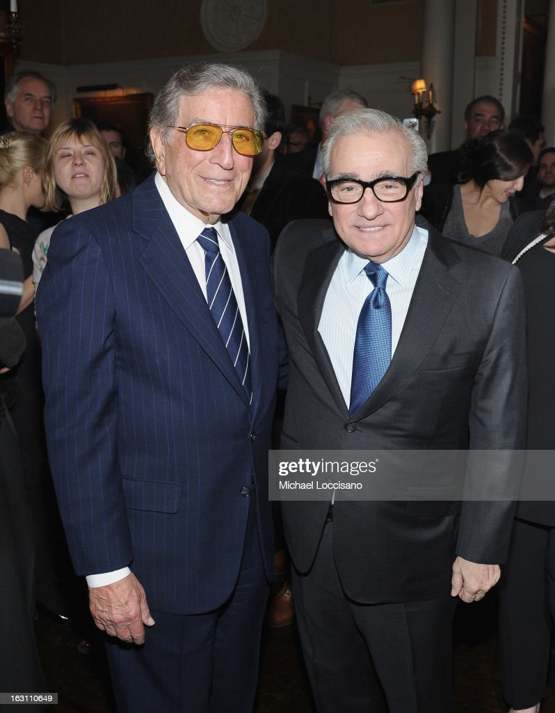 Singer <a gi-track='captionPersonalityLinkClicked' href=/galleries/search?phrase=Tony+Bennett+-+Singer&family=editorial&specificpeople=160951 ng-click='$event.stopPropagation()'>Tony Bennett</a> (L) and filmmaker <a gi-track='captionPersonalityLinkClicked' href=/galleries/search?phrase=Martin+Scorsese&family=editorial&specificpeople=201976 ng-click='$event.stopPropagation()'>Martin Scorsese</a> attend the closing night awards during the 2013 First Time Fest at The Players on March 4, 2013 in New York City.