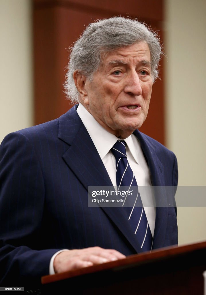 Singer <a gi-track='captionPersonalityLinkClicked' href=/galleries/search?phrase=Tony+Bennett+-+Singer&family=editorial&specificpeople=160951 ng-click='$event.stopPropagation()'>Tony Bennett</a> speaks during a news conference hosted by the Mayors Against Illegal Guns and the Law Center to Prevent Gun Violence at the U.S. Capitol February 6, 2013 in Washington, DC. The artists, activists and politicians called for manditory background check on all gun purchases among other restrictions.