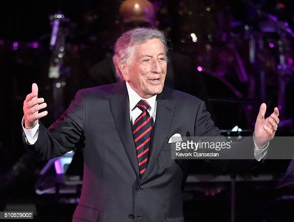 Singer Tony Bennett speaksonstage during the GRAMMY PreTelecast at The 58th GRAMMY Awards at Microsoft Theater on February 15 2016 in Los Angeles...