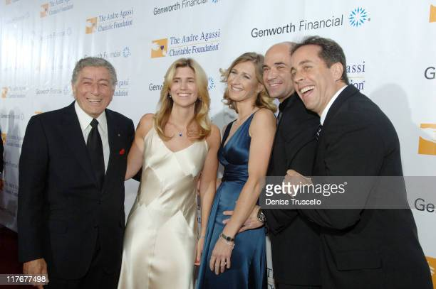 Singer Tony Bennett Susan Crow tennis star Steffi Graf tennis star Andre Agassi and comedian Jerry Seinfeld arrive to The Andre Agassi 12th Annual...