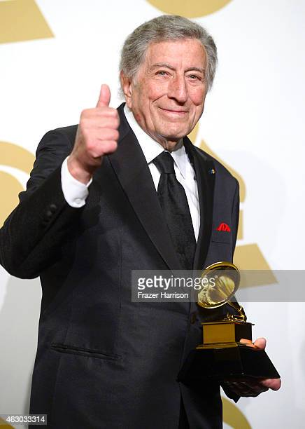 Singer Tony Bennett winner of Best Traditional Pop Vocal Album for 'Cheek to Cheek' poses in the press room during The 57th Annual GRAMMY Awards at...