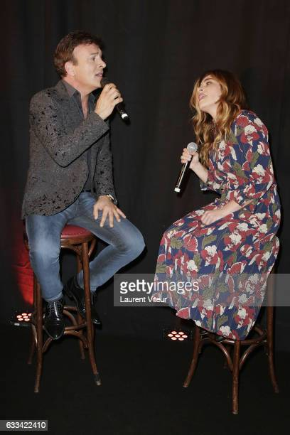 Singer Tony Carreira and Singer Julie Zenatti perform during 'Le Coeur des Femmes' by Tony Carreira Launch Party at L'Arc on February 1 2017 in Paris...