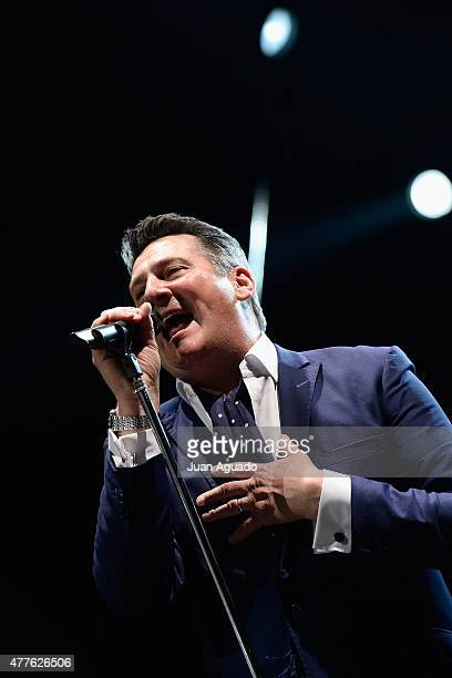 Singer Tony Hadley of the british band Spandau Ballet performs on stage at Barclaycard Center on June 18 2015 in Madrid Spain