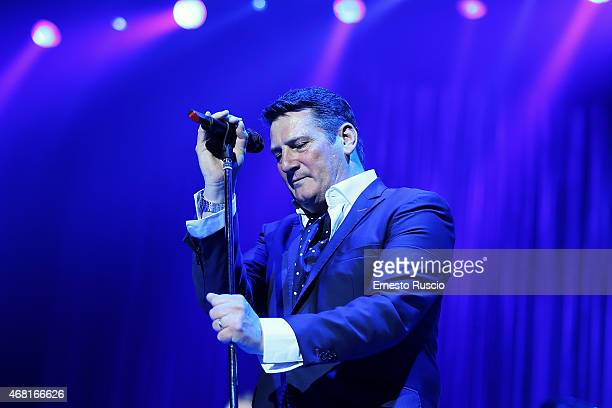 Singer Tony Hadley performs during the Soulboys of the Western World Tour at Palalottomatica on March 30 2015 in Rome Italy