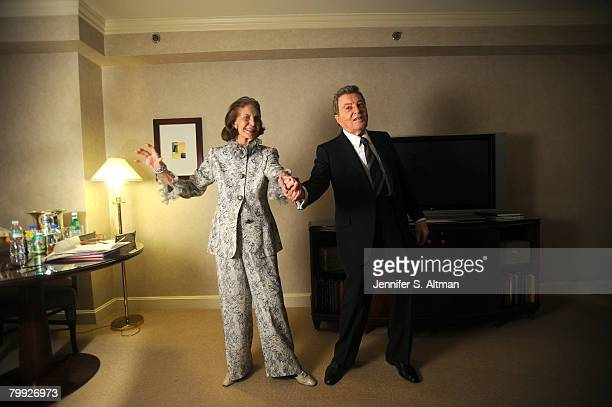 Singer Tony Martin and his wife dancer Cyd Charisse are photographed in the Regency Hotel in New York for the New York Times