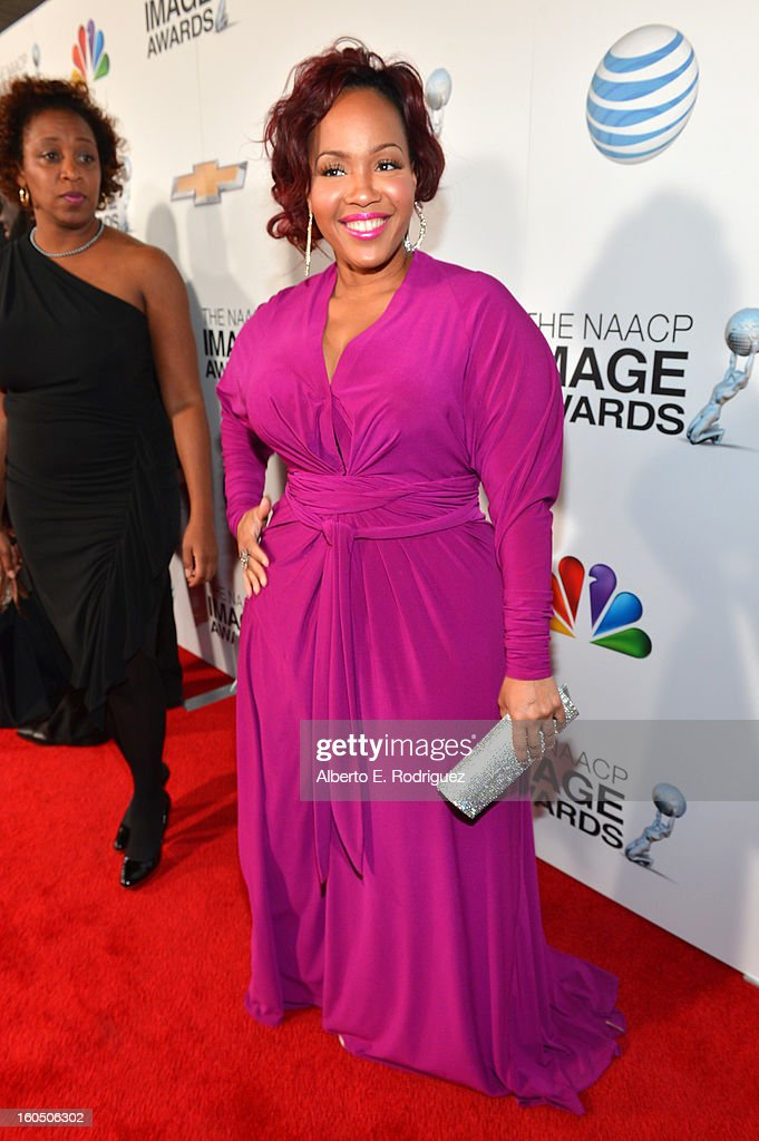 Singer Trecina 'Tina' Atkins-Campbell of Mary Mary attends the 44th NAACP Image Awards at The Shrine Auditorium on February 1, 2013 in Los Angeles, California.