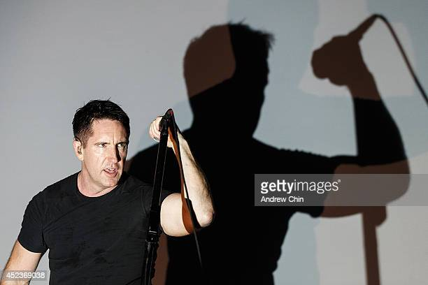 Singer Trent Reznor of Nine Inch Nails performs during Day 1 of Pemberton Music and Arts Festival on July 18 2014 in Pemberton Canada