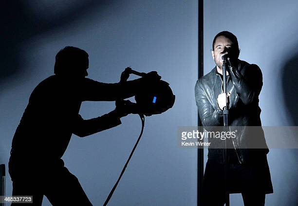 Singer Trent Reznor performs onstage during the 56th GRAMMY Awards at Staples Center on January 26 2014 in Los Angeles California