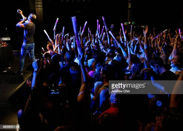 Singer Trevor Guthrie takes a selfie during his performance onstage during Virgin Radio Beach Ball at Commodore Ballroom on August 13 2015 in...