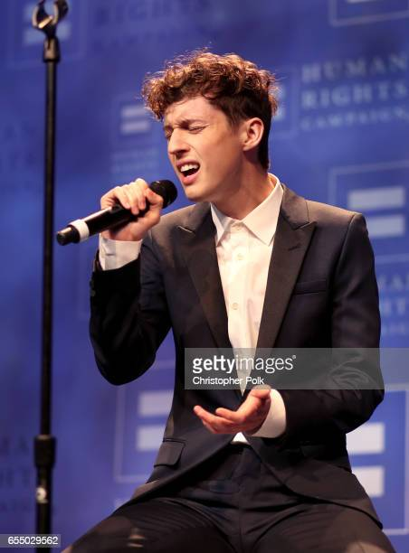 Singer Troye Sivan performs onstage at The Human Rights Campaign 2017 Los Angeles Gala Dinner at JW Marriott Los Angeles at LA LIVE on March 18 2017...