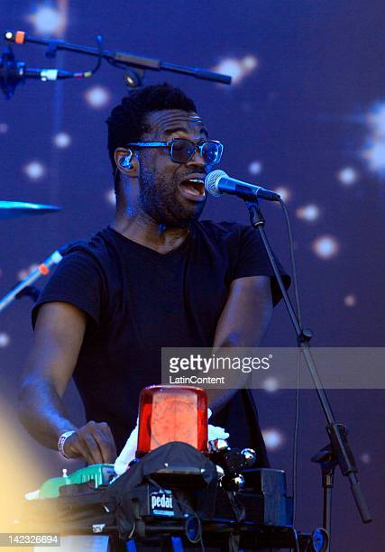 Singer Tunde Adebimpe of TV on the Radio performs live on stage during the 2012 Lollapalooza Music Festival at OHiggins Park on April 01 2012 in...