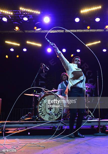 Singer Ty Taylor and drummer Richard Danielson of Vintage Trouble perform onstage during day 1 of the 2014 Life is Beautiful festival on October 24...