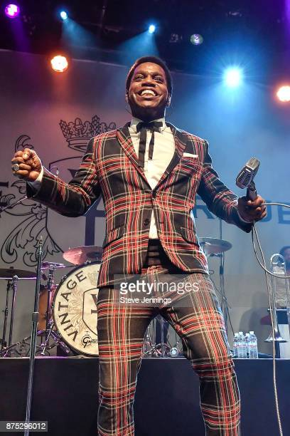 Singer Ty Taylor of Vintage Trouble performs at The Fillmore on November 16 2017 in San Francisco California