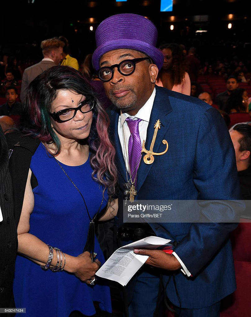 Singer <a gi-track='captionPersonalityLinkClicked' href=/galleries/search?phrase=Tyka+Nelson&family=editorial&specificpeople=6472497 ng-click='$event.stopPropagation()'>Tyka Nelson</a> (L) and filmmaker <a gi-track='captionPersonalityLinkClicked' href=/galleries/search?phrase=Spike+Lee&family=editorial&specificpeople=156419 ng-click='$event.stopPropagation()'>Spike Lee</a> attend the 2016 BET Awards at the Microsoft Theater on June 26, 2016 in Los Angeles, California.