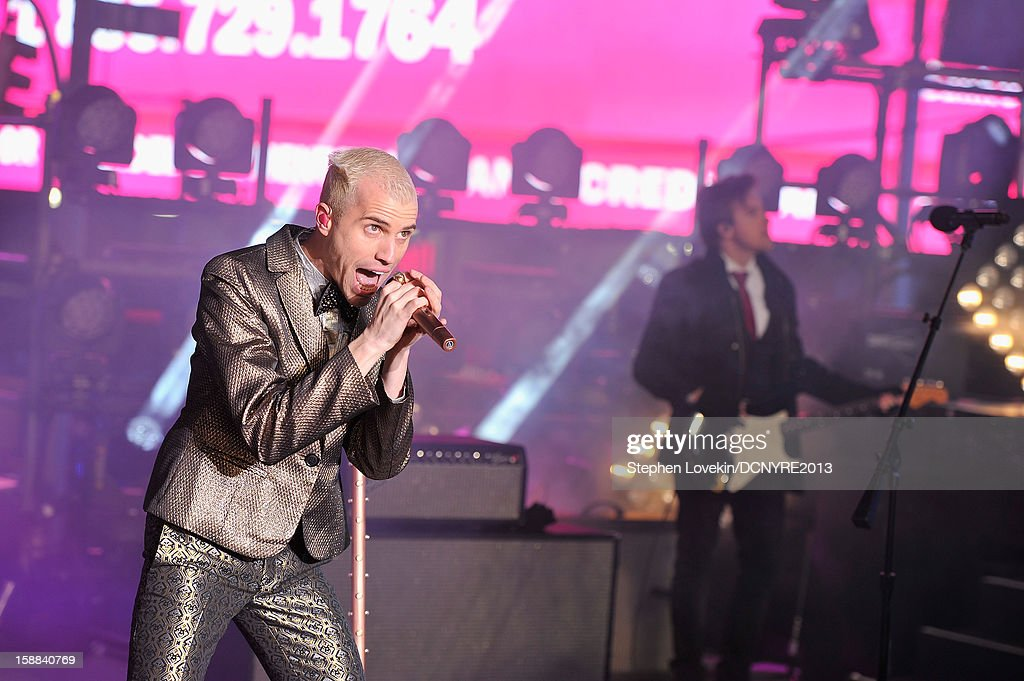 Singer Tyler Glenn of the Neon Trees performs onstage at Dick Clark's New Year's Rockin' Eve with Ryan Seacrest 2013 in Times Square on December 31, 2012 in New York City, New York.