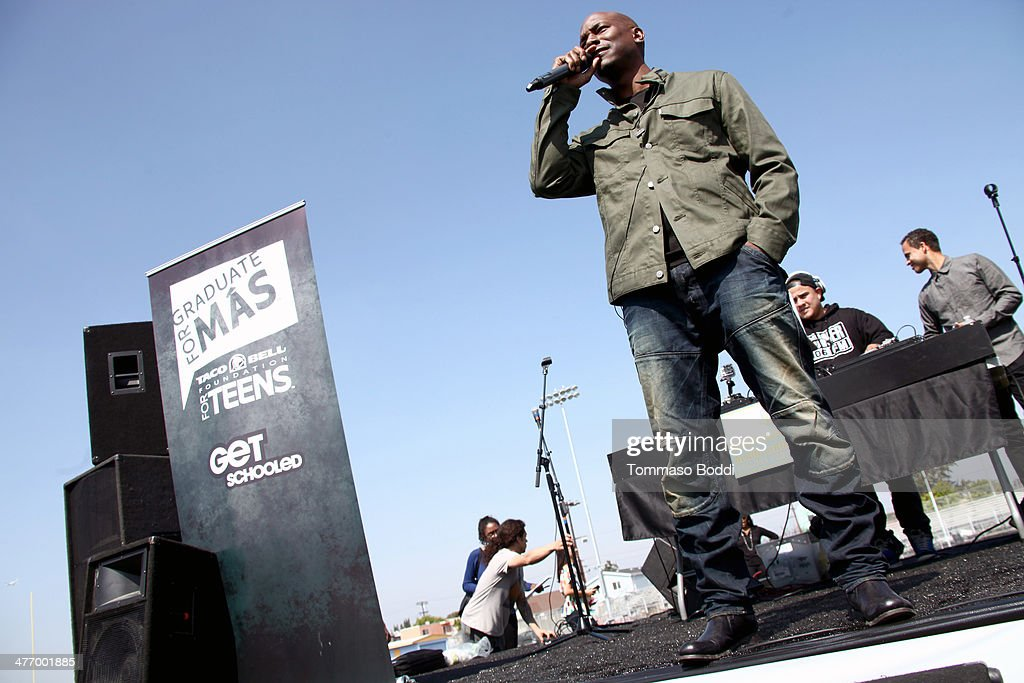 Singer <a gi-track='captionPersonalityLinkClicked' href=/galleries/search?phrase=Tyrese&family=editorial&specificpeople=206177 ng-click='$event.stopPropagation()'>Tyrese</a> Gibson attends the Taco Bell Foundation for teens and get schooled graduate for Mas Program 1 year anniversary held at the Locke College Preparatory Academy on March 6, 2014 in Los Angeles, California.