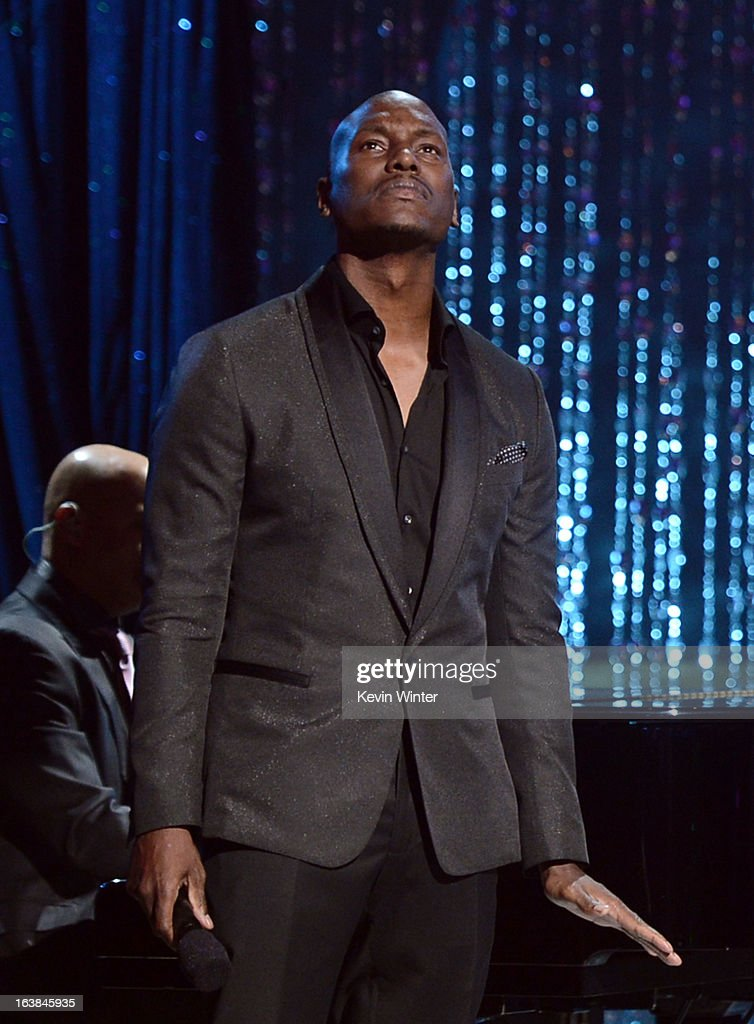 Singer Tyrese Gibson performs onstage during the BET Celebration of Gospel 2013 at Orpheum Theatre on March 16, 2013 in Los Angeles, California.