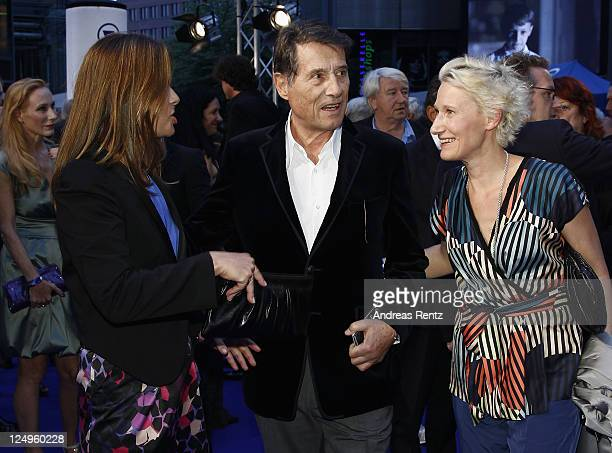 Singer Udo Juergens with his daughters Jenny Juergens and Sonja Juergens arrive for the 'Der Mann mit dem Fagott' premiere at CineStar on September...